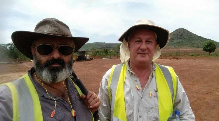 COO Dave Hammond and Ozango Minerais GM Graeme Clatworthy on site at Longonjo – November 2018.
