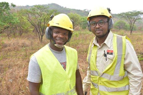 Driver Kavita Katchipita And Geologist Benedito Benedito Madeleno On Drill Site At Longonjo