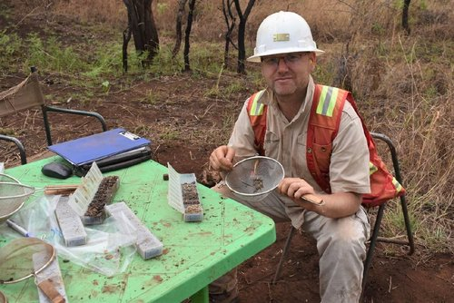Dr Karel Maly Logging Drill Chips At The Drill Site