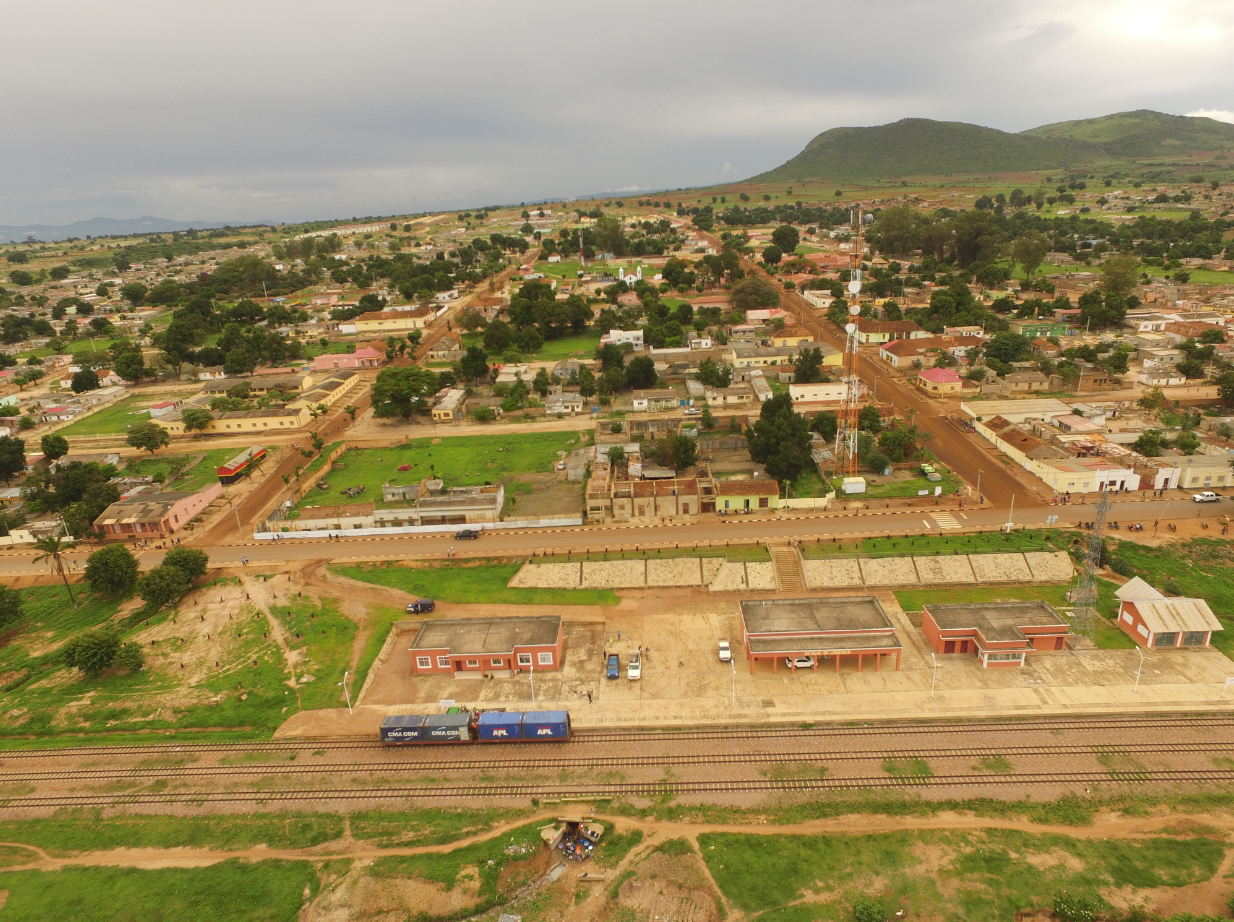 Drone Photo of Longonjo with bulk Sample containers November 2019