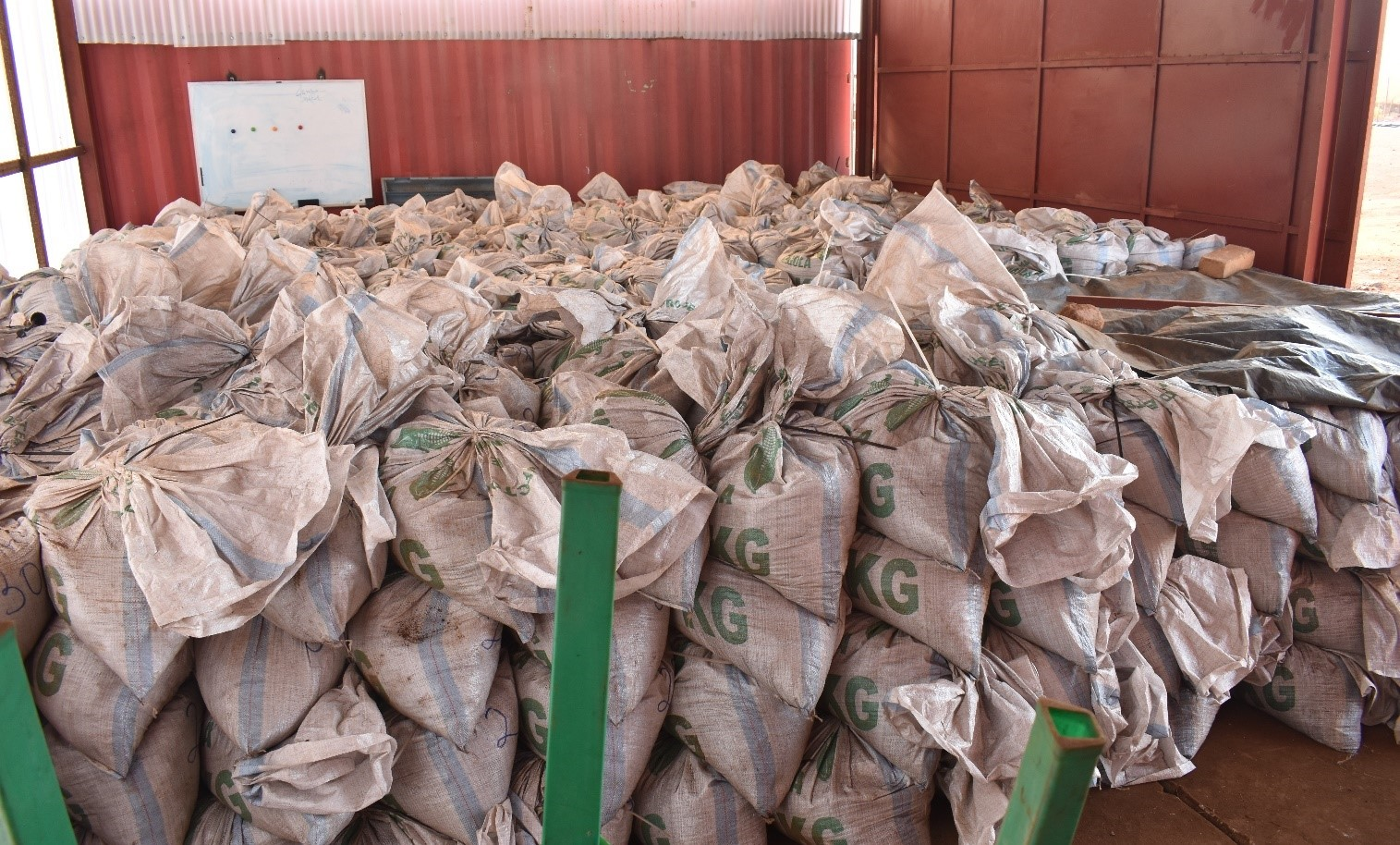 One of two storage sheds full of the 60 tonne bulk sample (40kg bags) - September 2019